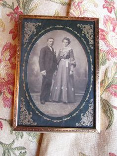 REDUCED Vtg Ornate Antique Brass Fancy Mat Framed Victorian Couple Cabinet Card Photo Gold Metal Easel Back Photo Picture Frame