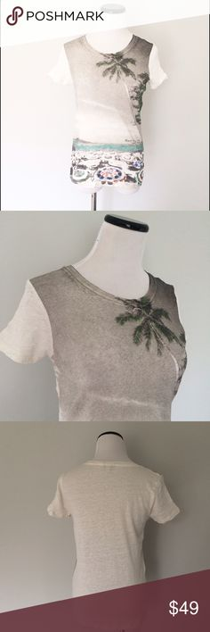 J. CREW White Linen palm tree beach Top White linen top with palm tree and beach design on front. Solid white back. Only worn once. Size small. J. Crew Tops