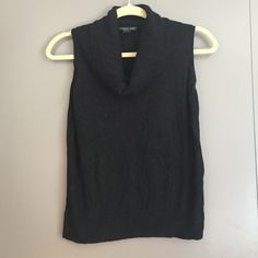 August Silk cowl tank black sweater Sweater tank has a cowl top that can be folded over for a polished look. Soft fabric. Barely worn! Tops Tank Tops