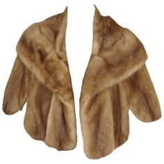 Preowned 1960s Vintage Pastel Fur Mink Shrug Shawl Wrap Wide Collar (€580) ❤ liked on Polyvore featuring accessories, brown, cropped jackets, fur wrap shawl, vintage fur shawl, mink fur shawl, brown shawl and brown fur shawl