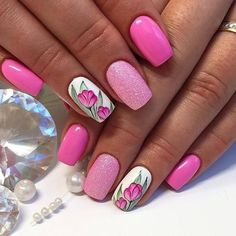 Bright summer nails, Cheerful nails, Drawings on nails, flower nail art, Manicure by summer dress Bright Pink Nails, Bright Summer Nails, Pink Glitter Nails, Pink Nail Art, Flower Nail Art, Spring Nails, Diamond Glitter, Pink Manicure, Cute Nails