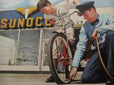 1950s Sunoco Vintage Gas Station Service ADVERTISEMENT Attendant Bicycle Air Pump Photo
