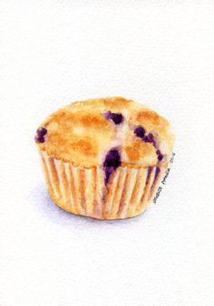 Blueberry muffin - ORIGINAL Painting (Dessert Illustration, Still Life, Watercolour Food Wall Art) 5x7