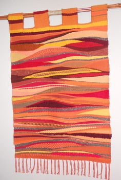 This Wall Hanging was done on a traditional floor loom but was woven using a tapestry weaving method. The design was totally free flow. Weaving Textiles, Weaving Art, Weaving Patterns, Loom Weaving, Knitting Patterns, Tapestry Loom, Small Tapestry, Weaving Projects, Woven Wall Hanging
