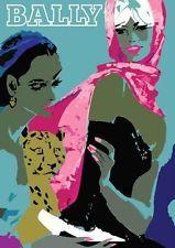 "BALLY French Girls / Leopard VINTAGE Poster A4 CANVAS PRINT 8""X 12""  Villemot"