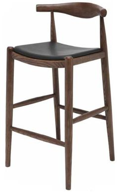 The Maja stool features a black leather upholstered seat on CFS foam with a solid wood constructed base. The wood finish is done in a rich american walnut. Counter: 21.75W 35.25H 20.25D Bar: 21.75W 39