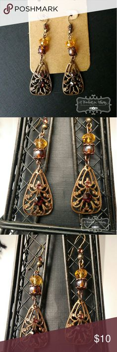 """Antique gold filigree earrings Antique gold and topaz and brown colored beads. SWAROVSKI CRYSTAL accents. 2.25"""" long. APenchantforWhimsy Jewelry Earrings"""