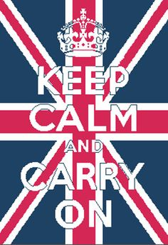 Keep Calm and Carry On Union Jack Background Counted Cross Stitch Pattern PDF. $5.00, via Etsy.