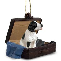 Pointer Black White Dog Tag Along Carrycase Ornament