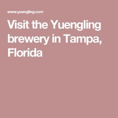 Visit the Yuengling brewery in Tampa, Florida More