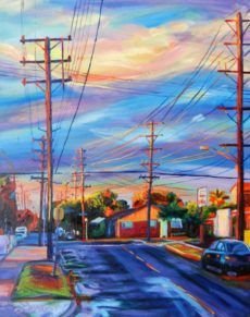 Bonnie Lambert artwork Up the Street for sale and offering more original artworks in Painting Oil medium and Cityscape theme. Contemporary artist website Contemporary Painter, Artist from Burbank California United States. Burbank California, Rain Painting, Contemporary Artists, Original Artwork, Fair Grounds, Street, Travel, Inspiration, Paintings