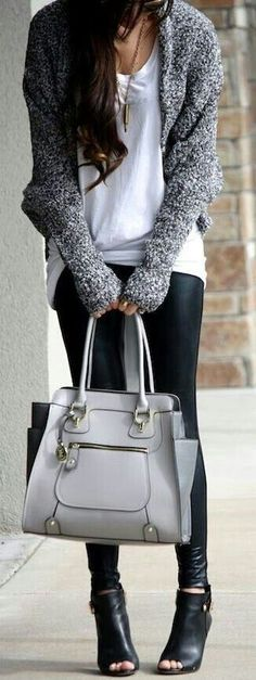 Love the black leggings paired with a gorgeous Bag and sweater!