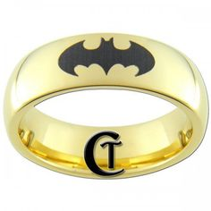 #CustomTungstenArtfire on Artfire                   #ring                     #Tungsten #Carbide #Dome #Gold #Black #Lasered #Batman #Design #Ring          7mm Tungsten Carbide Dome Gold Black Lasered Batman Design Ring                                         http://www.seapai.com/product.aspx?PID=1268674