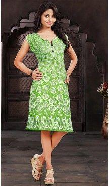 Cotton Parrot Green Color Daily Wear Readymade Kurtis | FH480774190 #kurtis , #kurtas , #tunic , #top , #fashion , #clothing , #women , #heenastyle , #ladies , @heenastyle , #teenagers , #girls , #style , #mode , #mehendi