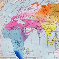 World  Panoroma Map Colorful Rainbow by AntiquePrintsAndMaps, $10.00