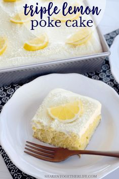 Lemon lovers, this Triple Lemon Poke Cake is for you! Soft lemon cake is soaked with lemon Jello, chilled then topped with the most gloriously fluffy lemon frosting. This all lemon dessert could not be more refreshing or delicious! Cake Mix Desserts, Poke Cake Recipes, Poke Cakes, Lemon Desserts, Easy Desserts, Delicious Desserts, Cupcake Cakes, Dessert Recipes, Dump Cakes