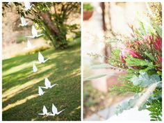 Protea-themed Wedding at The Bridge in Muldersdrift by Melanie Wessels Protea Bouquet, Daytime Wedding, Blush Pink, Real Weddings, Origami Birds, Bridesmaid, Table Decorations, Wedding Stuff, Flowers