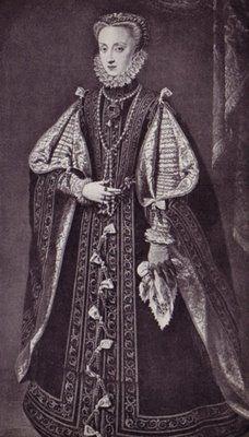 Ilustração do vestido vertugado, no qual, as suas mangas eram longas, largas e pendiam quase até o chão.