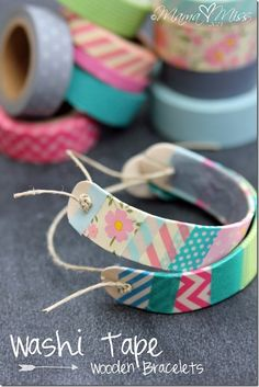DIY: Washi Tape Wooden Bracelets washitape diy bracelet... Link for the How-to:    http://www.mamamiss.com/2013/05/30/diy-washi-tape-wooden-bracelets/