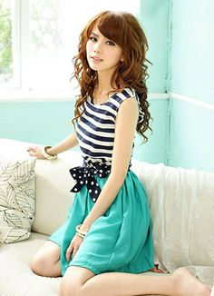 Nifty Stripe Ladies Blue Dresses   Item Code:#FA9968+Blue  Price: US$7.74  Shipping Weight: 0.36KG