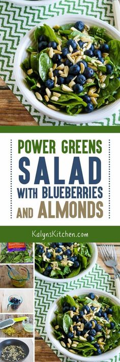 Whenever I have fresh blueberries I love to make this Power Greens Salad with Blueberries and Almonds, and this tasty salad is vegan, Paleo, Whole 30, and gluten-free. [found on KalynsKitchen.com]