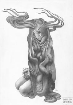 FHTAGN & TENTACLES - STHENNO  by Allen Williams Drawing process...