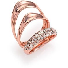 Alexis Bittar Miss Havisham Liquid Crystal Triple-Band Ring/Rose... ($130) ❤ liked on Polyvore featuring jewelry, rings, apparel & accessories, rose gold, triple ring, stacking rings jewelry, dot jewelry, crystal stone jewelry and crystal rings