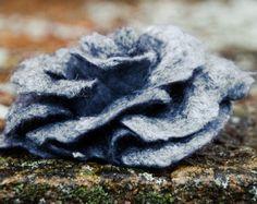 Flower brooch - gray big rose pin - Wedding flower brooch