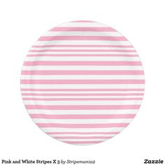 Pink and White Stripes X 3 Paper Plate  sc 1 st  Pinterest & Blue and White Stripes X 3 Paper Plate | Zazzle products designed by ...