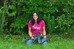 """#GunGirlMorgan in OffHand Gear """"Silly Boyz"""" tee - all USA Made www.OffHandGear.com #Fashion #Guns #GunGirl #AR15 #Rangeday #MadeinAmerica"""