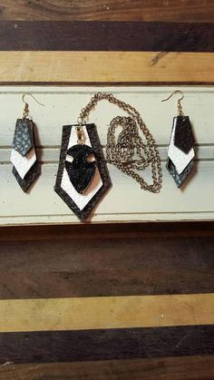 Check out this item in my Etsy shop https://www.etsy.com/listing/565322694/leather-necklace-earring-combo-great