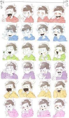 Osomatsu-san    Osomatsu, Karamatsu, Choromatsu, Ichimatsu, Jyushimatsu, Todomatsu.