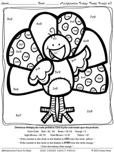 MULTIPLICATION Turkey Tracks and Feather Facts ~ Math Printables Color By The Code Puzzles For November And Thanksgiving To Practice Multiplication Skills. ~This Unit Is Aligned To The CCSS. Each Page Has The Specific CCSS Listed.~ This set includes 4 Turkey themed math puzzles with multiplication facts on each page. $