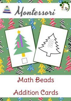 Christmas Themed Math Beads Addition Cards - Montessori Math Printables - Montessori Nature Blog