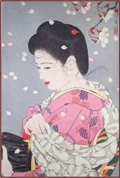 Tatsumi Shimura Cherry Blossom Storm 1953