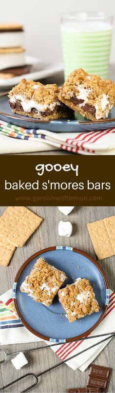 Enjoy s'mores rain or shine with these easy Gooey Baked S'mores Bars! ~ http://www.garnishwithlemon.com
