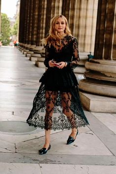 Black long sleeve lace midi dress, black pointy toe flats - Spring outfit, summer outfit, fall outfit, casual outfit, work outfit, party outfit, street style, comfy outfit, all black outfit.