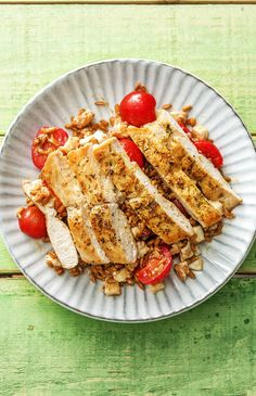 """Easy and healthy Pan-Seared Chicken with Herbs De Provence Over a Warm Farro, Mozzarella, and Tomato Jumble 