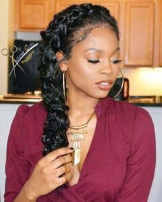 Side Braids Hairstyles for African American black Women. #braids #sidebraids #braidedhairstyles #blackwomenhairstyles #hairstyles #cornrows Black Women Hairstyles, Braided Hairstyles, New Hairstyles, Natural Hairstyles #goddessbraids