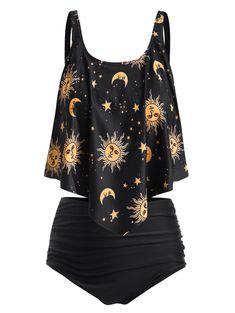 DressLily Cheap Women Plus Size Ruffle Sun Moons Print Tankini Set Swimsuit for All Beachwear Plus Size Bikini Bottoms, Plus Size Tankini, Women's Plus Size Swimwear, Curvy Swimwear, Haut Bikini, Looks Plus Size, Cute Swimsuits, Slip, Leggings