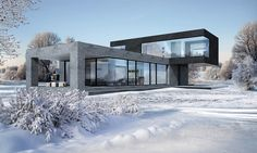 Hammer House : Case in stile minimalista di Aleksandr Zhydkov architect Design Exterior, Modern Exterior, Minimalist House Design, Minimalist Home, Modern Architecture House, Architecture Design, Modern Houses, Gothic Architecture, Home Modern