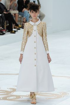 Chanel | Fall 2014 Couture Collection | Style.com (What did they do to that poor woman's HAIR?!)