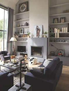 A fireplace insert enchassée Source by zabethnoub Home Living Room, House, Home, Living Dining Room, Space Interiors, House Interior, Home Deco, Interior Design, Home And Living