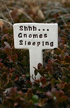 Shhh... Gnomes Sleeping - Little Sign Marker Stake for Garden, Plant Pot or Terrarium - Made to Order on Etsy by Sunshine Ceramics