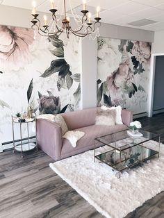 modern glam interior design featuring blush pink velvet sofa, glam chandelier and floral wallpaper designed by Alisa Bovino Living Room Designs, Living Room Decor, Bedroom Decor, Glam Living Room, Spa Like Living Room Ideas, Sofa In Bedroom, Blush Pink Living Room, Spa Room Decor, Living Room Colors