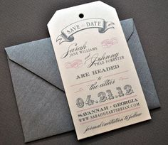 Miranda Vintage Luggage Tag Wedding Save the Date - Metallic Ivory, Pink and Pewter Grey, Customizable. $1.39, via Etsy.