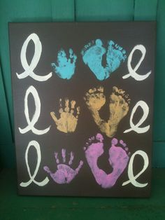 Handprint/footprint artwork- I so should do this, one for each of my babies.