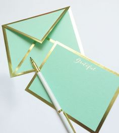 Grateful Mint Green and Gold Card & Envelope Mint Green Aesthetic, Aesthetic Colors, Azul Tiffany, Tiffany Blue, Mint Gold, Green And Gold, White Gold, Aqua, Card Envelopes