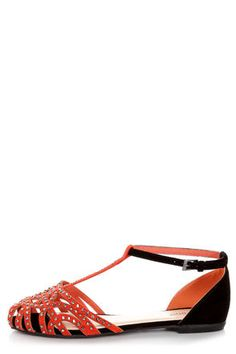 Check it out from Lulus.com! If you like your flats with a side of fabulous, then the Bamboo Lynna 01 Orange and Black Rhinestone Studded Flats are your big winners! Velvety, burnt orange vegan suede vamp is strappy and sparkled, with webby cutouts and shiny gunmetal rhinestones. Rhinestone-studded T-strap leads to a black vegan suede heel cup with a skinny ankle strap that adjusts with a shiny gunmetal buckle (and hidden elastic). 1/4
