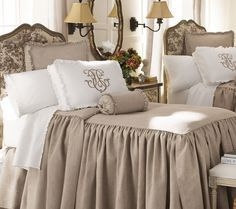 "taupe and white bedroom linens from Neiman Marcus. Legacy Home ""Essex"" Bed Linens collection ~~' Our bedspread in our bedroom Linen Bedroom, White Bedroom, Bedroom Decor, Design Bedroom, Taupe Bedroom, Linen Bedding, Neutral Bedding, Khaki Bedroom, Burlap Bedding"